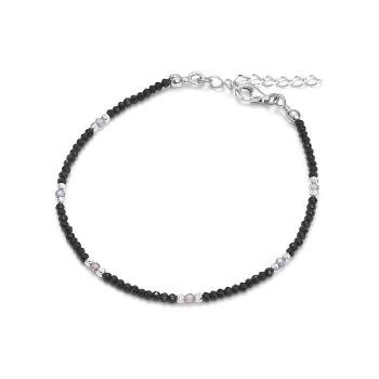 Bracelet en spinelle noir et zircon sur argent rhodié