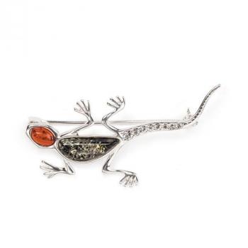 Broche salamandre ambre sur argent