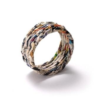 Bracelet en papier journal recyclé - Taille M - Grande Largeur
