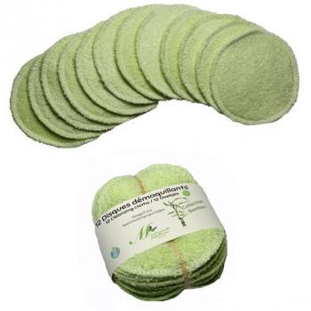 Disques démaquillants Visage - Lot de 12  - vert clair- Collection Bambou