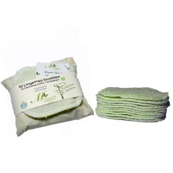 Lingettes Lavables Familiales - Lot de 10 - vert clair - Collection Bambou