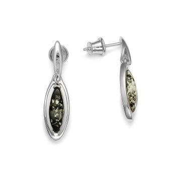 Boucles d'oreilles en ambre vert sur argent 925 rhodié