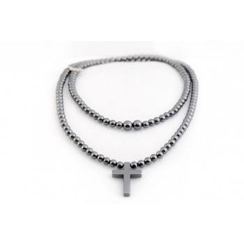 Sautoir perles Hématite naturelle semi précieuse et Bouddha pendant