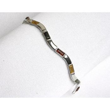 Bracelet en ambre multicolore sur argent 925.