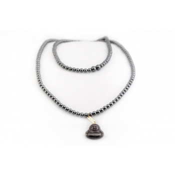 Sautoir perles Hématite en pierre naturelle semi précieuse et Bouddha pendant