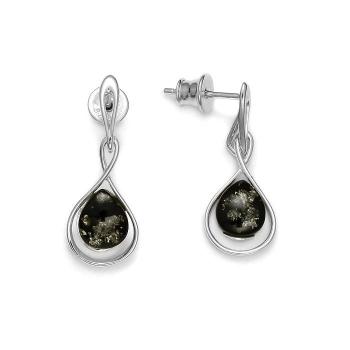 Boucles d'oreilles en ambre vert sur argent rhodié 925