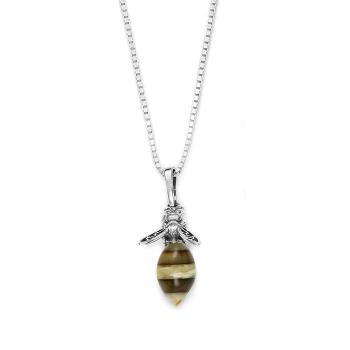 Le collier abeille en ambre de la Baltique sur argent 925