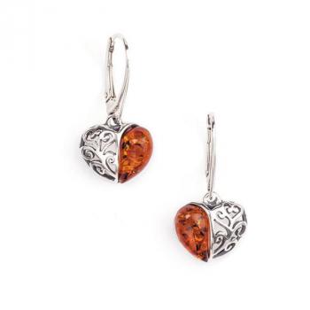 Boucles d'oreilles cœur ambre sur argent 925.