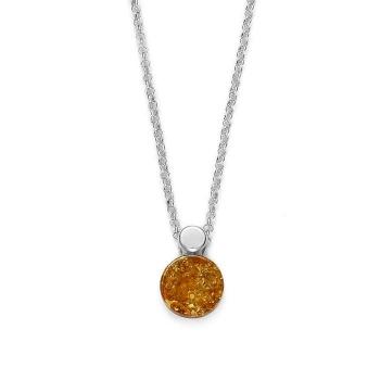 Collier en ambre cognac sur argent rhodié 925.