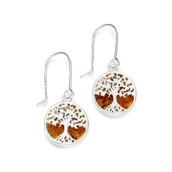 Boucles d'oreilles arbre de vie en ambre de la Baltique sur argent 925