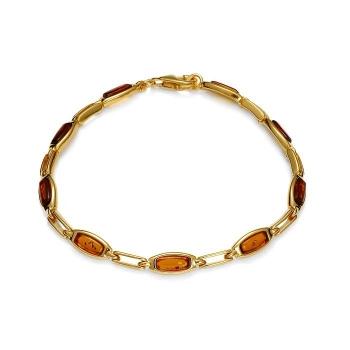 Bracelet en ambre cognac sur vermeil