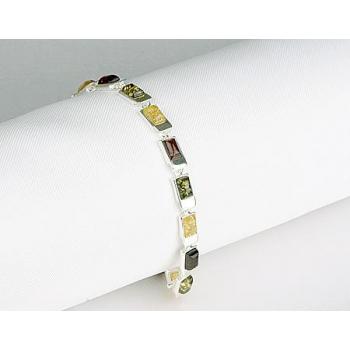 Bracelet ambre sur argent.