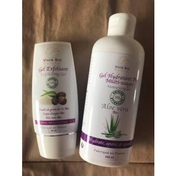 Duo Gel  Aloe Vera Bio ( gel gommant visage et gel multi usages )