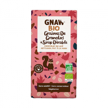 Tablette chocolat au lait granolas sirop d'érable BIO GNAW