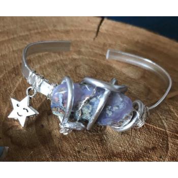 Aurora Borealis Bracelet Agate mousse Violette
