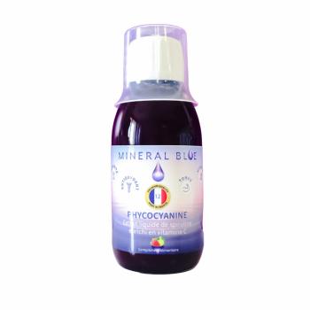 Phycocyanine en Sirop 12g/l - Extrait liquide de spiruline concentré enrichi en vitamine C - Fraise citron vert - 150ml