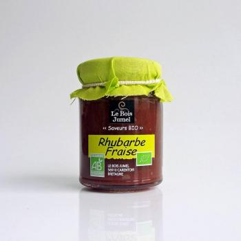 "Confiture "" Extra "" Bio - Fraises/Rhubarbe - 120 g - Le Bois Jumel"