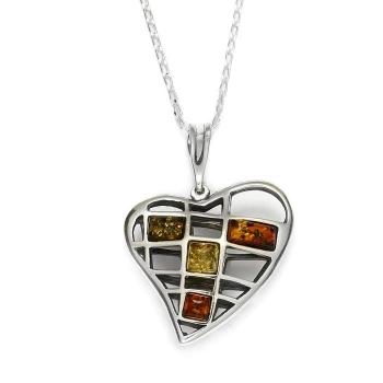 Collier cœur en ambre multicolore sur argent 925