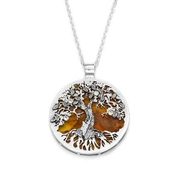 Collier arbre devie ambre sur argent 925