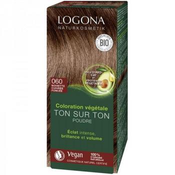 Soin colorant Bio 100 % Végétal - Noisette cuivrée fonçée - 100 gr - Logona
