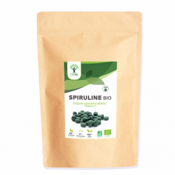 Spiruline Bio - Complément alimentaire - Spiruline - Energie - 65% de Protéine - 17% de Phycocyanine - BIOPTIMAL - 1200 Comprimés