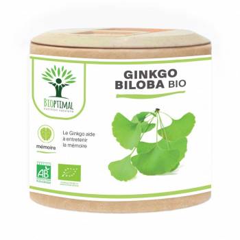 Ginkgo Biloba bio - Mémoire - Circulation - Vertige - Made in France Certifié par Ecocert 60 gélules