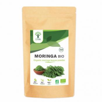 Moringa bio - Vitamine C - Vitamine E - Vitamine A - BIOPTIMAL - Poudre 300g