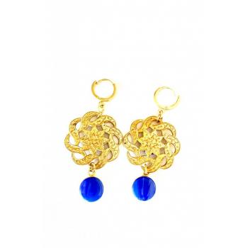 Boucles d'oreilles artisanales spectaculaires bleues en boutons anciens