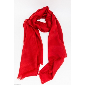 Echarpe Etole Cachemire Rouge Rubis / Collection Infinie Tendresse 2 FILS