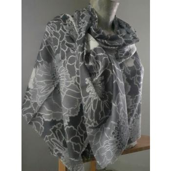 Étole écharpe, gris à imprimés fleuri, en pure cachemire éthique d'Inde