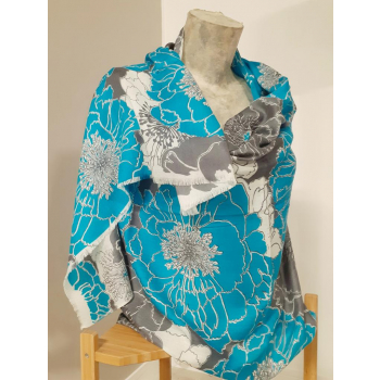 Étole écharpe, turquoise à imprimés fleuris, en pure cachemire éthique d'Inde