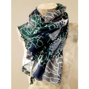 Étole écharpe, vert foncé à imprimés fleuris, en pure cachemire éthique d'Inde