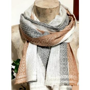 Etole écharpe, gris beige et blanc, texturé en cachemire du Népal