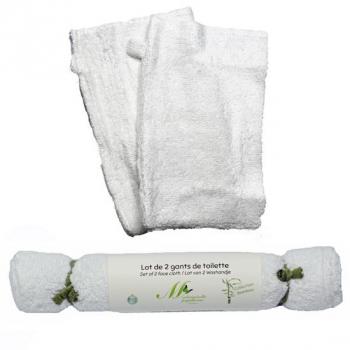 Gants de toilette - Collection Bambou - Lot de 2 - blanc