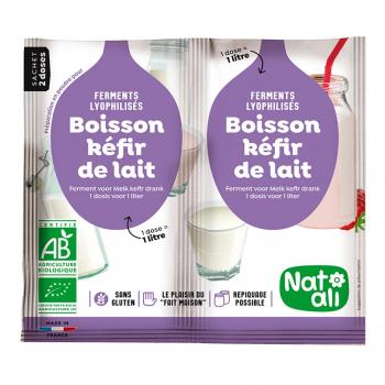 Ferments pour boisson kéfir de lait 2x6g bio - Nat-Ali