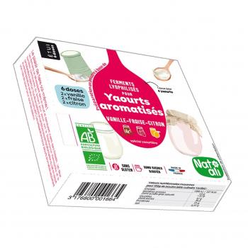 Ferments pour yaourts aromatisés  citron-fraise-vanille 36g bio - Nat-Ali