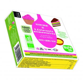 Etui de 3 colorants alimentaires en poudre (rose-jaune-vert) 3x10g bio - Nat-Ali