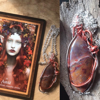 Astrild pendentif energetique  Agate mousse rouge