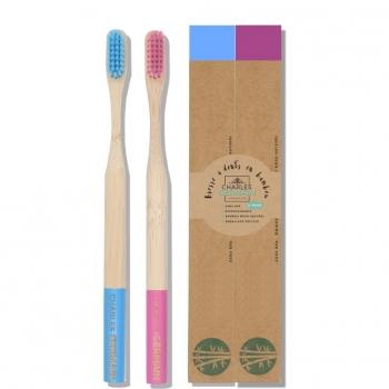 Brosse à dents en bambou biodégradable - Pack de 2 bleu & rose