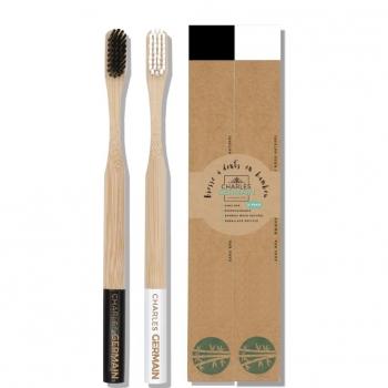 Brosse à dents en bambou biodégradable - Pack de 2 noir & blanc