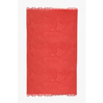 Fouta de plage coton 320g 100/180cm coquillages orangue sanguine