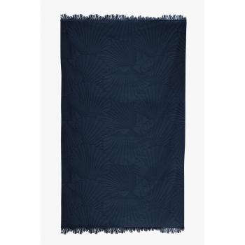 Fouta de plage coton 320g 100/180cm coquillages bleu atlantique