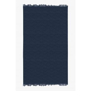 Fouta de plage coton 320g 100/180cm vagues japonaise bleu atlantique