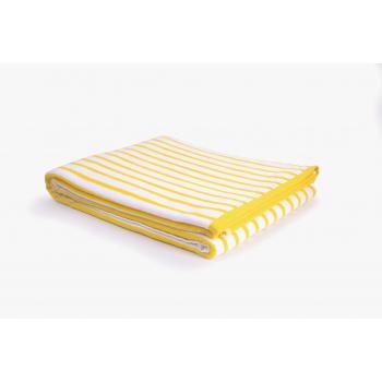 Drap de plage coton 420g 100/180cm jaune/blanc