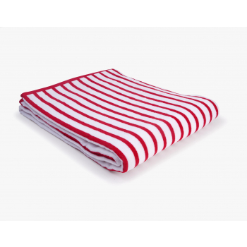 Drap de plage coton 420g 100/180cm rouge/blanc