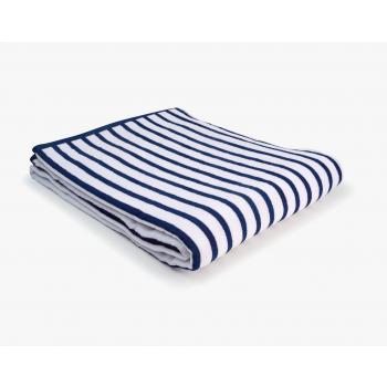 Drap de plage coton 420g 100/180cm bleu/blanc