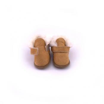 Chaussons bébé scratch camel en peau de mouton