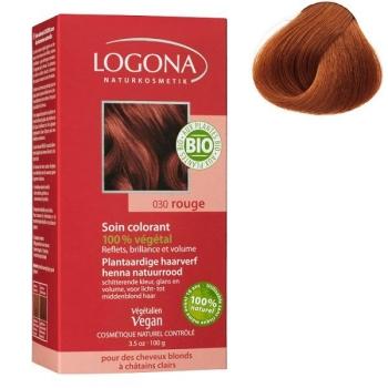 Soin colorant Bio 100 % Végétal - Rouge - 100 gr - Logona