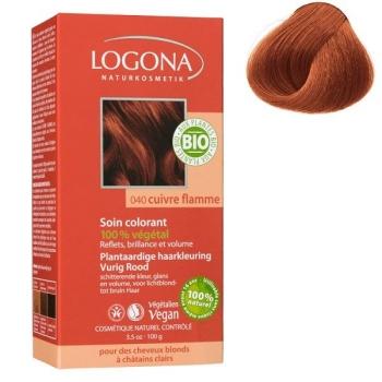 Soin colorant Bio 100 % Végétal - Cuivre Flamme - 100 gr - Logona