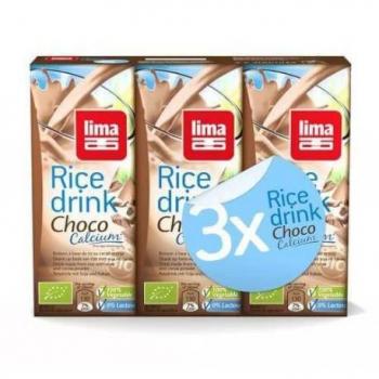 Rice drink choco+calcium-soja (avec paille) 3 x 200ml LIMA